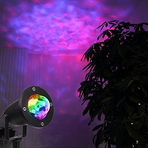 KOOT  Water Wave LED Light Multi Colors Garden Light , Colorful Flowing Water Ripple Effects Waterproof Outdoor Projector for Holiday Garden Party Dance Show(with Remote)