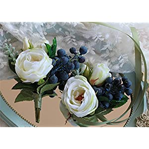 KUPARK Boutonniere and Wrist Flower Set Artificial Tea-Roses Corsage for Wedding Prom Party Decoration 90