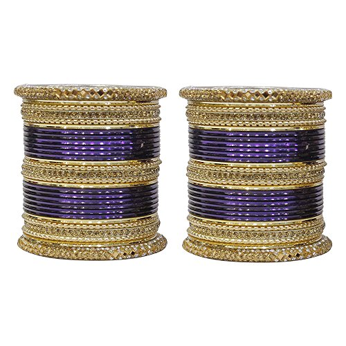 MUCH-MORE Multi Color Bangles Set of 58 Pieces with Golden Kade Traditional Jewelry for Womens & Girls (Navy-Blue, 2.8) ()