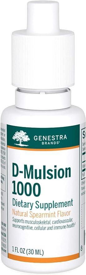 Genestra Brands - D-Mulsion 1000 - Emulsified Vitamin D - 1 fl. oz. - Natural Spearmint Flavor