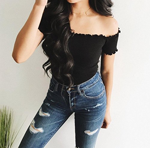 Off Quistal Black Shirt T Strapless Womens Shoulder Tops Blouse Crop Tees Sleeve Short Clearance Sexy xIdqcnIS