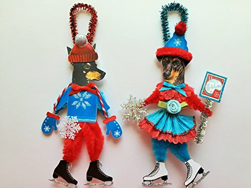 Manchester Terrier ICE SKATER Christmas ornaments holiday dog ornaments vintage style chenille ORNAMENTS set of 2