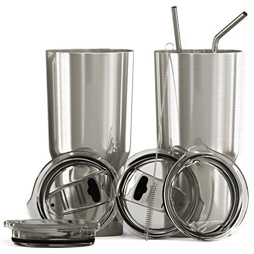 Bluepeak Double Wall Stainless Steel Insulated Tumbler Set, 2-Pack, Includes Sipping Lids, Spill-Proof Sliding Lids, Straws, Cleaning Brush & Gift Box
