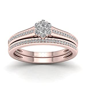 De Couer 10K Rose Gold 1/3ct TDW Diamond Clustere Bridal Sets (H-I, I2)