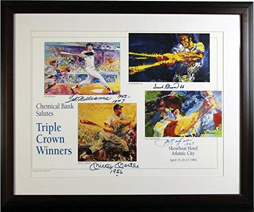 (Mickey Mantle, Frank Robinson, Ted Williams & Carl Yastrzemski Triple Crown Autographed Signed Framed Poster PSA/DNA)