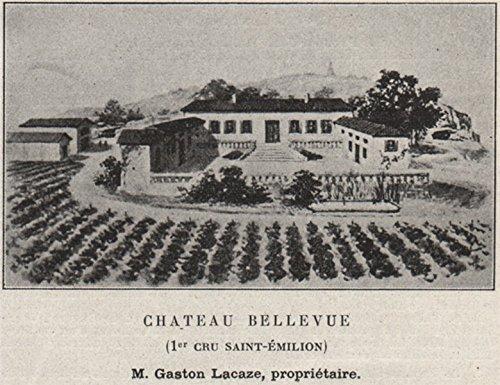 SAINT-ÉMILIONNAIS. Chateau Bellevue (1er Cru Saint-Émilion). SMALL - 1908 - old print - antique print - vintage print - Gironde art ()