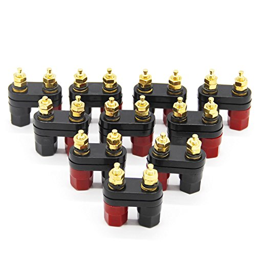 Wiwaplex 10Pcs Gold plated Insulated Terminal Binding Post Power Amplifier Dual 2-way Banana Plug Jack