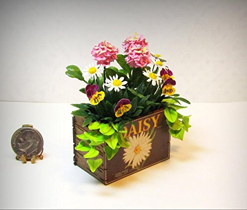 Dollhouse Miniature Handcrafted Flowers in Daisy Crate by Judy Travis - My Mini Garden Dollhouse Accessories for Outdoor or House Decor by New Miniature