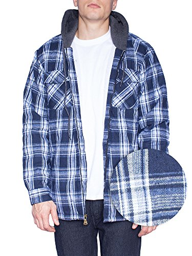 Walnut Creek Mens Fleece Lined Plaid Flannel Jacket (Medium, Twilight)