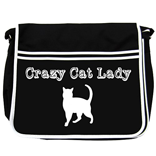 Lemon And Lime Girls  Crazy Cat, Borsa Messenger  Unisex adulti Nero nero