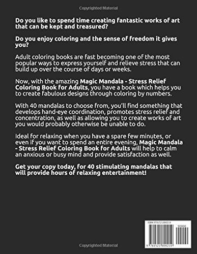 Magic Mandala Stress Relief Coloring Book For Adults Color By
