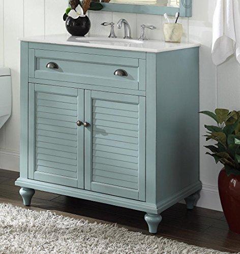 "Cottage Retreat Vanity Cabinet - 34"" Cottage look Light Blue Glennville Bathroom Sink Vanity Model CF28668BU"