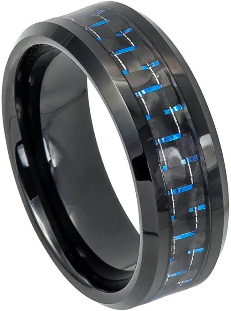 TosowebOnline Mens 8mm Polished Finish with Blue /& Black Carbon Fiber Inlay Black IP Beveled Edge Comfort Fit Tungsten Carbide Anniversary Ring