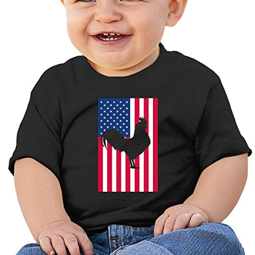 USA American Flag Rooster Silhouette Toddler Baby Girl Boy Round Neck Short Sleeve T-Shirt Tops Tee Clothes Black ()