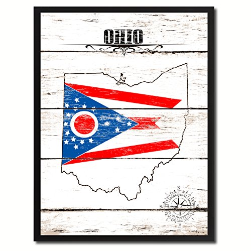 Ohio State Flag Canvas Print, Black Picture Frame Gifts Home Decor Wall Art Decoration (Photo Poster Ohio State)