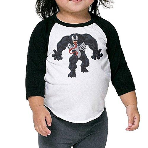 Autumn Kids Toddler Venom Crew Neck 3/4 Sleeves Raglan T Shirts Black US Size 3 - Measurements Jessica Lange