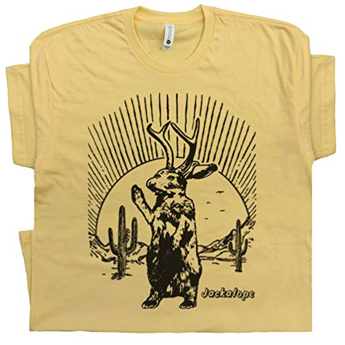 XL - Jackalope T Shirt Cool Graphic Tee Roswell Spirit Animal Area 51 Cryptid Cryptozoology Bigfoot Sasquatch Rabbit Yellow (Independent Animal T-shirts)