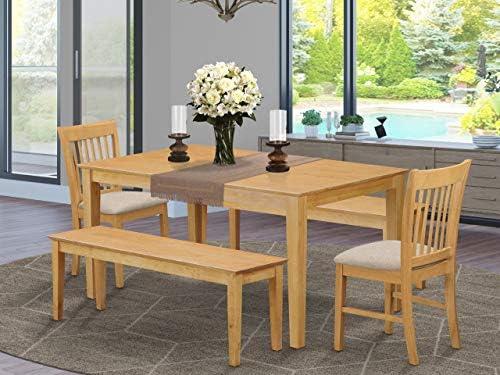East West Furniture CANO5C-OAK-C Kitchen Table Set 5 Pc