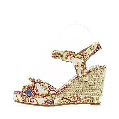 Sandales compensées blanches rétros à talon de 9,5cm