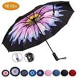 Viefin Reverse Folding Compact Travel Umbrellas for Women, Inverted Inside Out Sun Rain Woman Umbrella, Automatic Open Close, 10 Ribs-Blue Flower