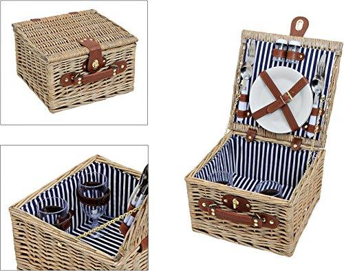 Picknick-Korb-blau-wei-gestreift-Picknick-Set-fr-2-Personen-14-Teile