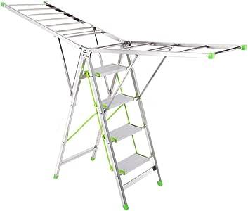ZhuFengshop Tendedero de lavandería Aireador de Ropa de Escalera de Cuatro Pasos, Estante de Secado de lavandería de Escalera Plegable para Interiores/Exteriores, 4 Niveles con esparcidor sin pelliz: Amazon.es: Hogar
