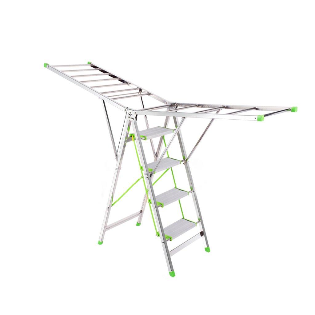 Ladder Folding Drying Rack, Four-step Pedal Ladder, Multifunctional Drying Rack, Stainless Steel -L193cm W50cm 105cm, Load-bearing 130kg
