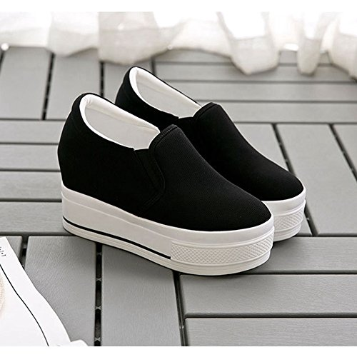 CYBLING Wedge Platform Sneakers For Women Hidden Heel Loafers Canvas Shoes Black cm4bqp