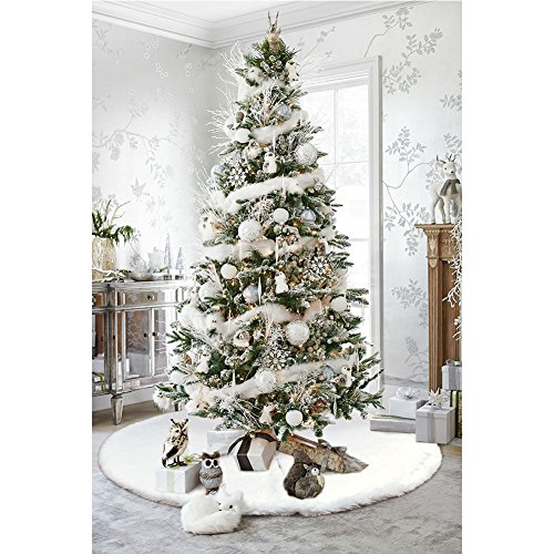 white christmas tree decorations aerwo faux fur tree skirt 48 inches snowy white 11594