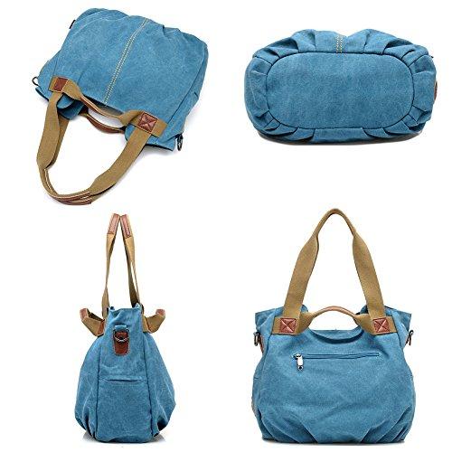 Tote Vintage Handle Handbag KARRESLY Purse Women's Canvas Shoulder Ladies Daily Casual Top Blue Shopper Hobo PxFqHwd