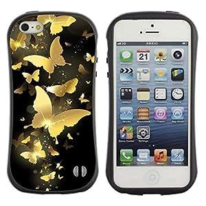 "Pulsar iFace Series Tpu silicona Carcasa Funda Case para Apple iPhone SE / iPhone 5 / iPhone 5S , El oro de la mariposa de Bling Negro Money pintura"""