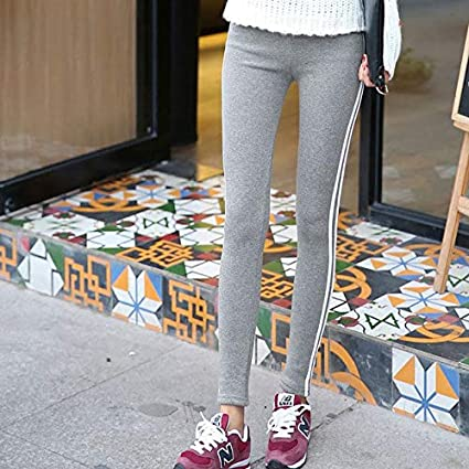 0828c1d308f Maternity Clothes Plus Size Side Stripe Leggings Knitted Solid Pants  Pregnant high Waist Leggings 3XL Pregnant Pants Gray for Autumn