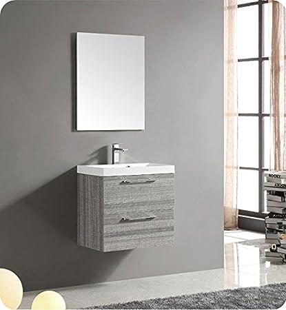 Fresca 24 Inch Wall Mount Matte Modern Bathroom Vanity With Mirror