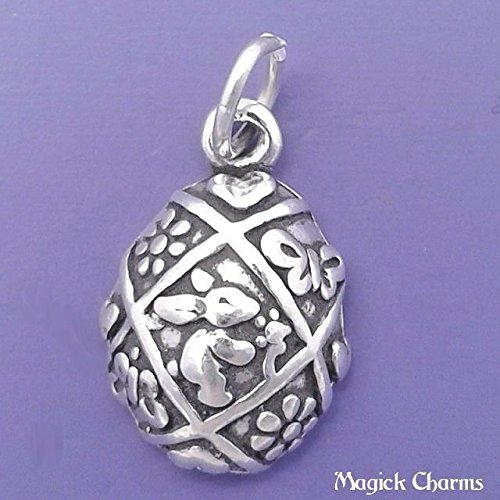 925 Sterling Silver Easter Egg with Bunny Rabbit Charm - One Sided Jewelry Making Supply, Pendant, Charms, Bracelet, DIY Crafting by Wholesale Charms
