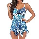 TIFENNY Women Plus Size Pentagram Print Tankini Bathing Suit Swimsuit Beachwear Padded Swimwear Color Block Swimdress Blue