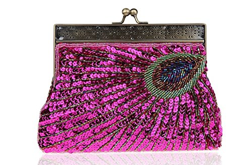 Party FZHLY Vintage Bag Women Peacock Bag Bag Dinner Evening Rosered Clutch Bag Pop Qipao Beaded 80rS0qxnWA