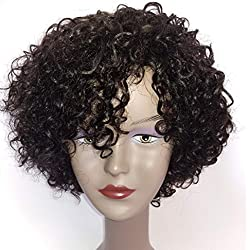 Brazilian 10 inch Short Deep Curly Human Hair Wigs For Black Women Short Bob Wigs No Lace Front Natural Color Side Part
