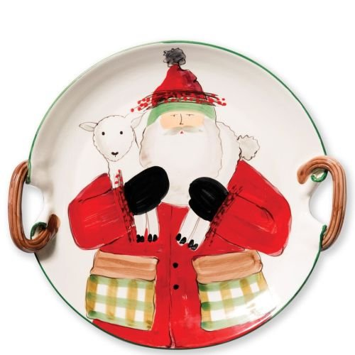 Vietri Old St. Nick Handled Round Platter, Functional Cermaic Art, Santa & a Lamb