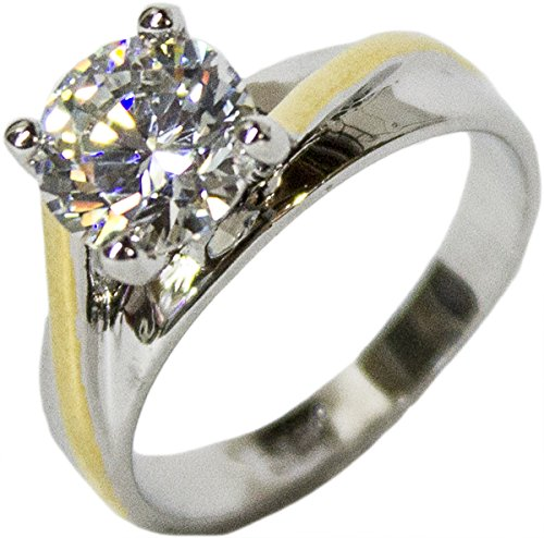 - Women's Rhodium Plated Dress Ring Two Tone Round Cut Solitaire CZ 099 (5)