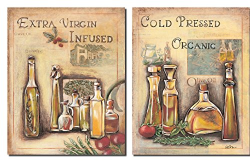 2 Vintage Italian Olive Oil Signs; Kitchen Decor; Two 8X10 Poster Prints