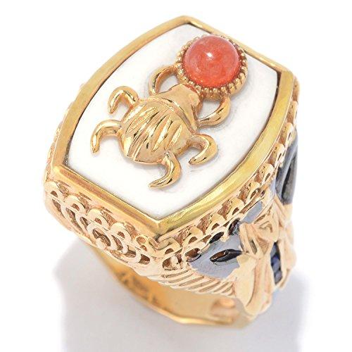 Michael Valitutti Palladium Silver Cleopatra White Agate & Multi Gemstone Scarab Beetle & Pharaoh Ring