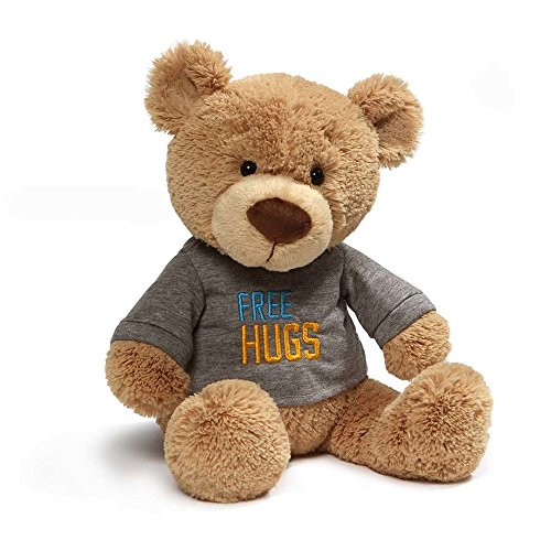 (GUND Free Hugs Gray T-Shirt Teddy Bear Stuffed Animal Plush, Tan, 12.5