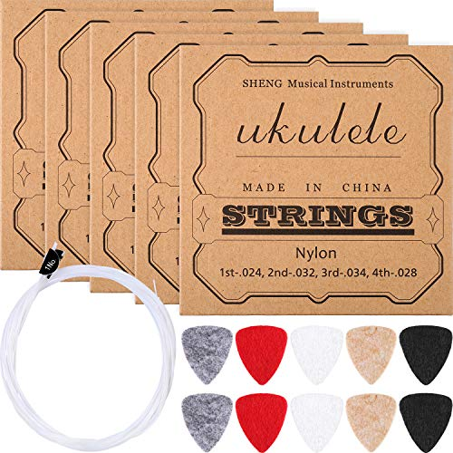 Nylon Ukulele Strings with Felt Ukulele Picks for Soprano (21 Inch)/ Concert (23 Inch)/ Tenor (26 Inch) Ukulele (5 Sets String, 10 Felt Picks)