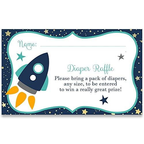 Baby Shower Diaper Raffle Ticket, Rocket Ship Baby Shower, White, Navy, Aqua, Yellow, Gold, Grey, Gray, Gender Neutral, Space Diaper Raffle Ticket, 24 Diaper Raffle Printed -