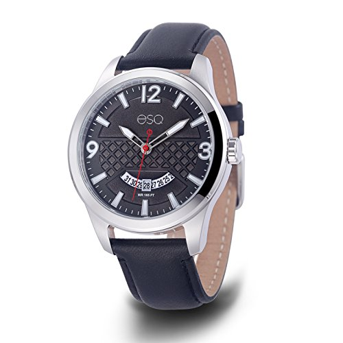 ESQ Men's 'Dress' Quartz Stainless Steel and Leather Casual Watch, Color:Black (Model: 37ESQE08001A) - Esq Quartz Watch