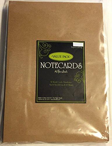 Kraft 5x7 Inch Blank Cards & Envelopes, Value Pack 50