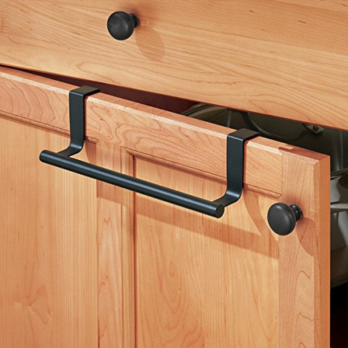 mDesign Decorative Kitchen Over Cabinet Stainless Steel Towel Bar - Hang on Inside or Outside of Doors, Storage and Display Rack for Hand, Dish, and Tea Towels - 9'' Wide, Pack of 2, Matte Black by mDesign (Image #2)