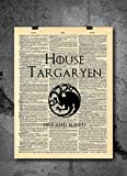 Game of Thrones Art Prints | House Targaryen - Dragonstone Khaleesi | Vintage Dictionary Prints Home Vintage Art Abstract Prints Wall Art for Home Decor Wall Decorations Office (Print Only)