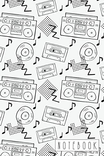 Notebook: Retro 90s Boombox and Cassette Tape Pattern - Pattern Cassette