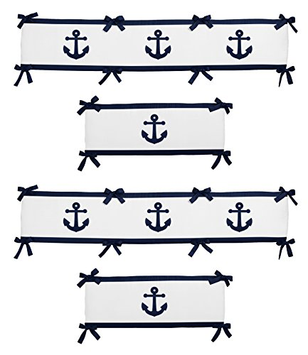 (Anchors Away Nautical Navy Blue and White Boys Collection 4 Piece Baby Crib)